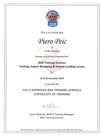 Credo movers - BAR certificate 02